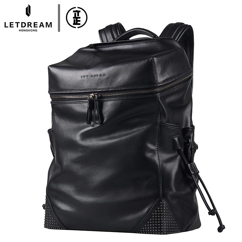 潮男款真皮商务包时尚旅行包大容量电脑包头层牛皮双肩包铆钉背包
