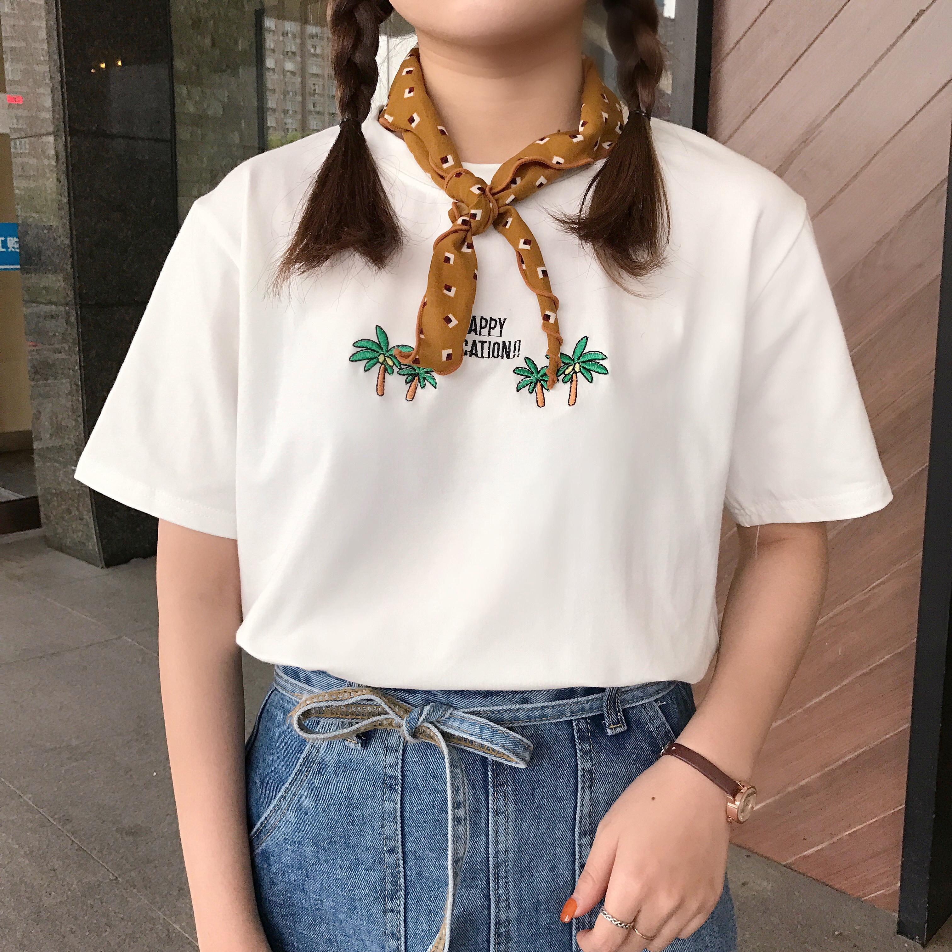 春季女装椰树刺绣短袖圆领T恤女学生纯色宽松套头