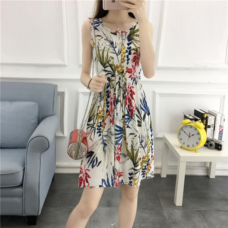 新款波西米亚大码女装夏装中长款碎花连衣裙女沙滩裙人造棉绵绸裙