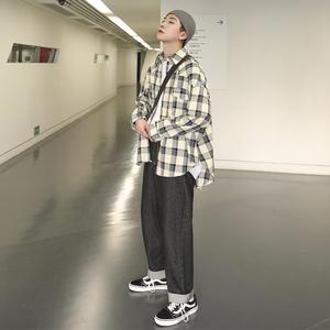 2019春季bt365注册_bt365.com_bt365网站打开不了小字母印花撞色格子长袖衬衫男潮流青年韩版休闲衣服
