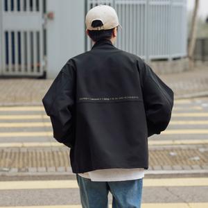 春季字母印花大口袋工装夹克男士潮流日系宽松立领外套