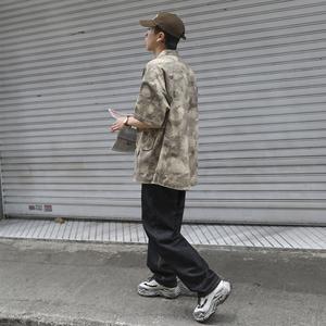 夏季迷彩工装风口袋短袖衬衫男士潮流日系宽松中袖衬衣