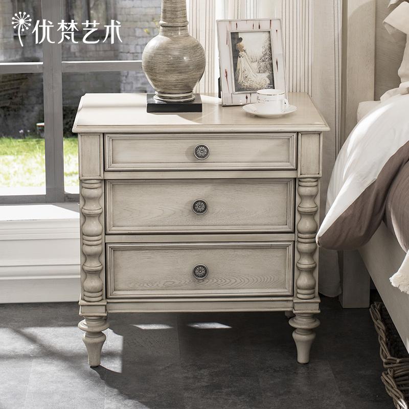优梵艺术 Trunk新古典床头柜复古抽屉角柜储物收纳床边柜卧室家具