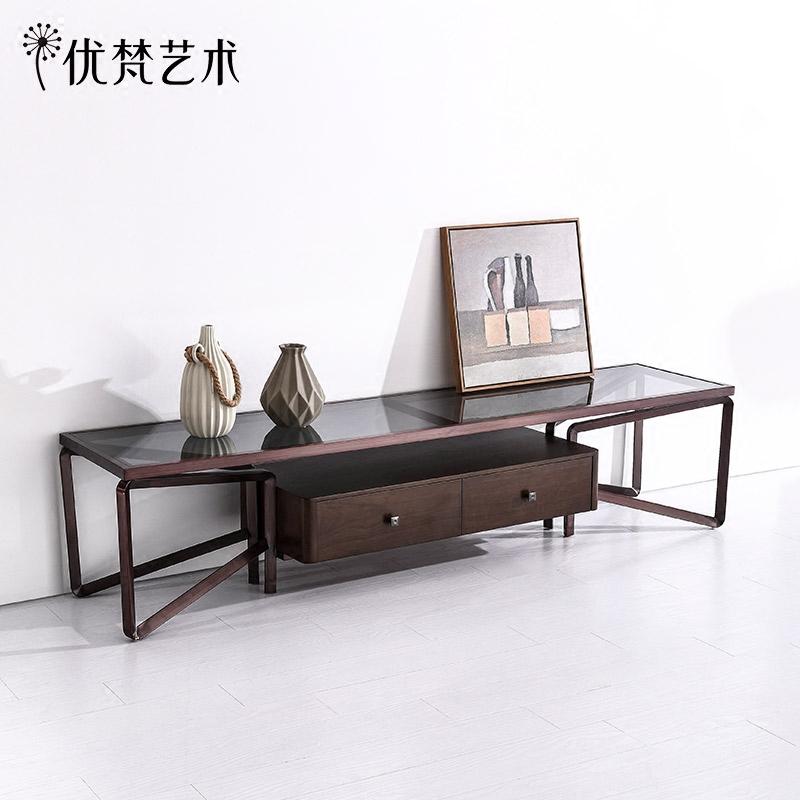 优梵艺术Portopo简约现代客厅电视柜茶几组合不锈钢化玻璃长方形