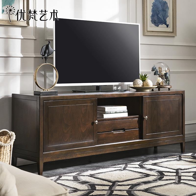 优梵艺术Carpa美式乡村实木脚矮电视柜简约抽屉客厅电视机柜整装