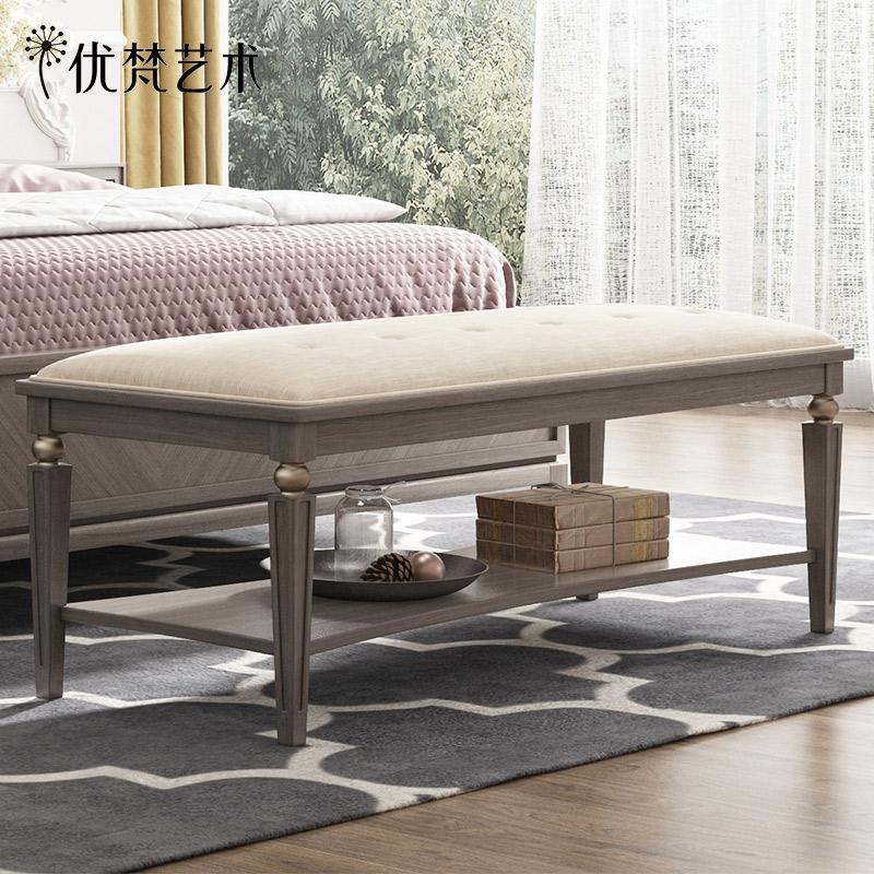 优梵艺术Savannah美式软包床尾凳卧室床榻沙发床头凳小户型换鞋凳