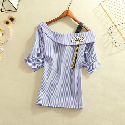 2018 summer new Korean women's word collar collar shirt female Slim thin striped shirt shirt shirt tide