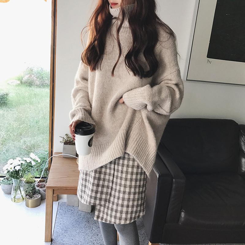 A7seven 羊毛纯色高领宽松慵懒厚实套头毛衣女冬季韩版学生针织衫