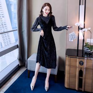 实拍女装2018套装新款潮气质网纱长款金丝绒连衣裙性感裙
