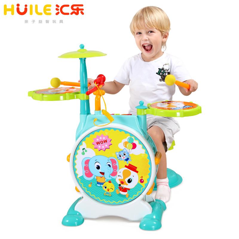 汇乐666儿童初学者早教益智爵士鼓 架子鼓敲打鼓乐器玩具1-3-6岁