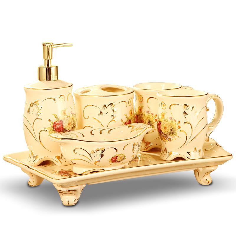 梵莎奇欧式卫浴五件套奢华家用陶瓷洗漱用品情侣漱口杯刷牙杯套装