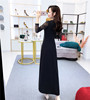 Real Shot! New Autumn And Winter Lace Stitching Long-Sleeved Dress Female High Waist Was Thin Big Swing Long Skirt