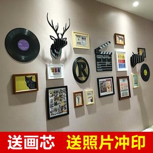 现代美式实木照片墙相框墙 组合创意字母鹿头背景墙
