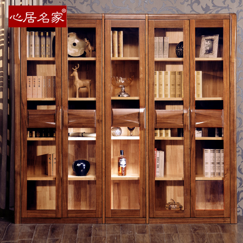 心居名家楠木家具全实木书柜组合书柜实木书橱大书柜4门5门