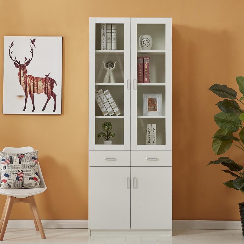 木聪单个书柜书架玻璃2门书橱自由组合简约现代办公储物柜收纳柜