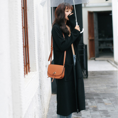 In the long section of the coat female small fresh 2018 new women's spring literary wild hooded long-sleeved knit trench coat women