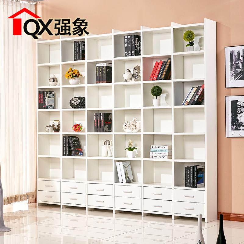 强象书房简易带抽屉格子柜自由组合书柜书架置物架展柜定制F-003
