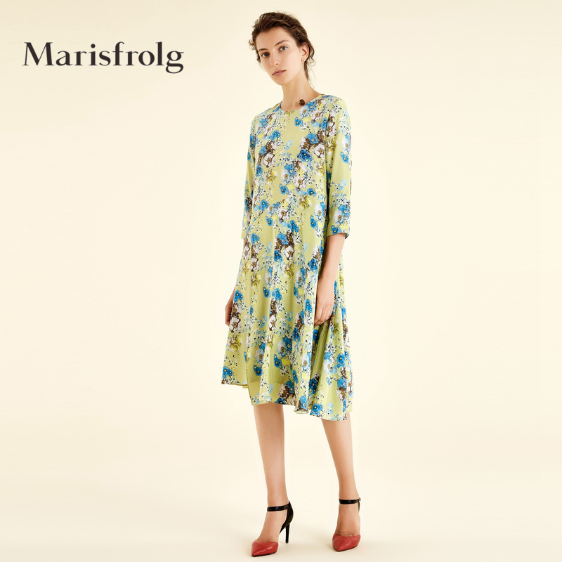 Marisfrolg-玛丝菲尔女装优雅花稿圆领真丝连衣裙秋新款专柜同款
