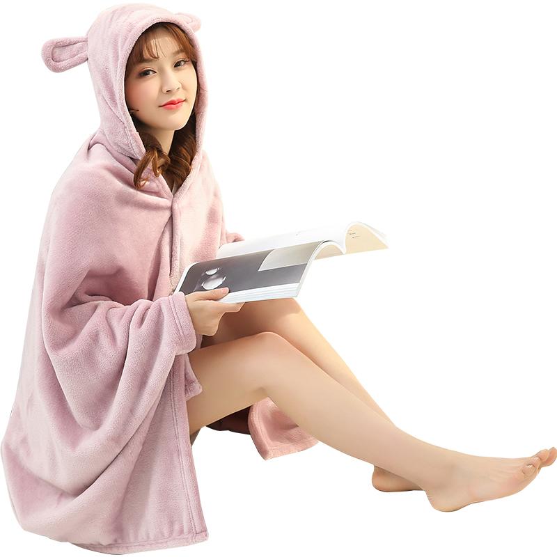 春夏珊瑚绒法兰绒毛毯办公室懒人披肩斗篷保暖午睡空调披风毯子