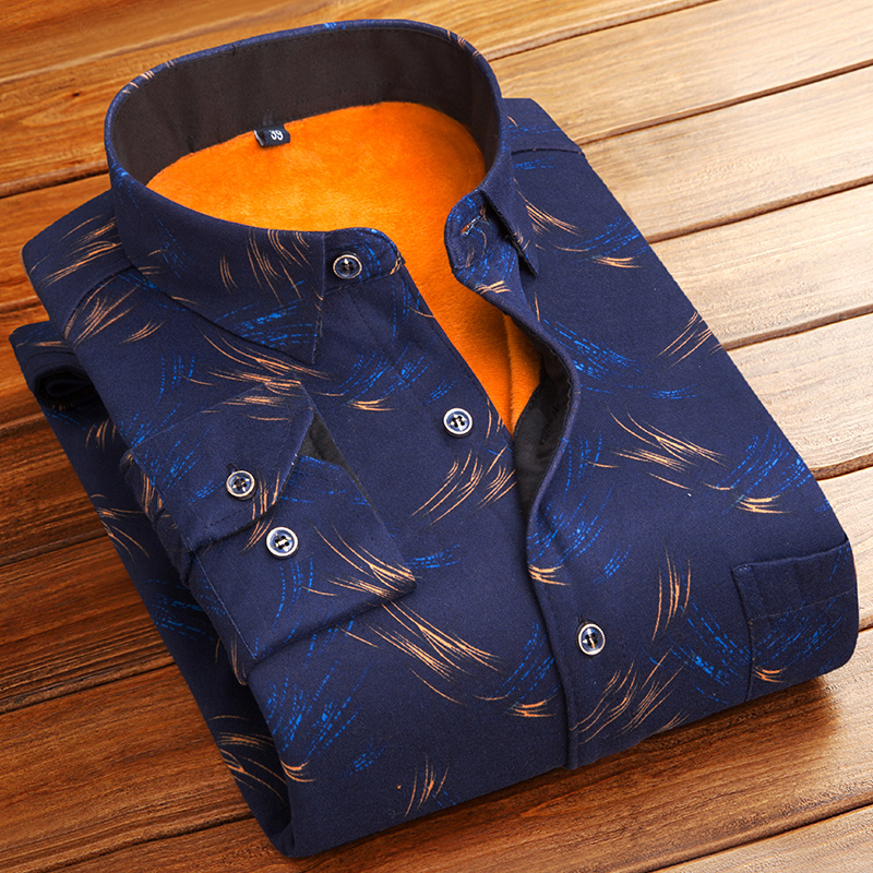 After the coupons 28】Men's warm shirt plus velvet thick long-sleeved shirt Winter casual Slim plaid printed shirt