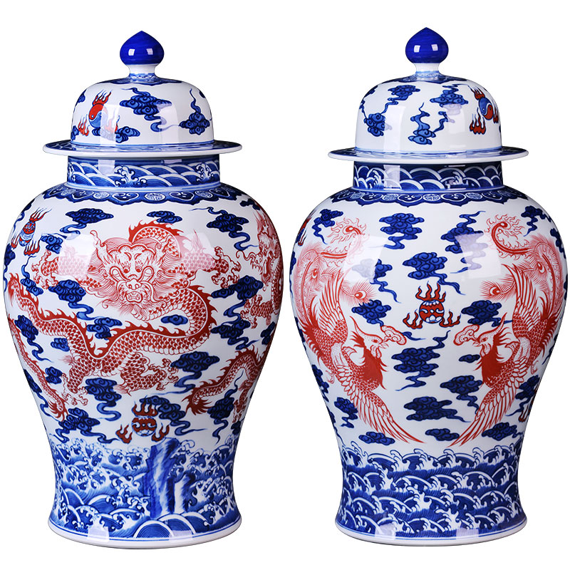 Jingdezhen ceramics furnishing articles longfeng general tank capacity of the sitting room TV cabinet storage tank handicraft ornament