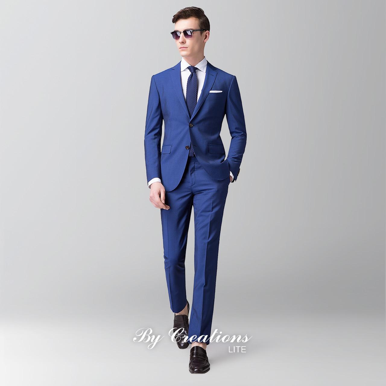 柏品Lite VBC羊毛蓝色修身商务正装男士西服套装新郎结婚西装