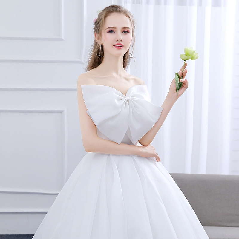top wedding dress 2018 new bride married pregnant summer bow ...