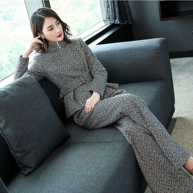 心语泉2018秋冬新款羊毛套装女灰色收腰短款外套毛呢阔腿裤两件套