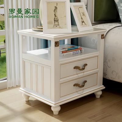 罗曼家园 美式乡村田园床头柜台灯柜迷你床头柜白色储物柜简约