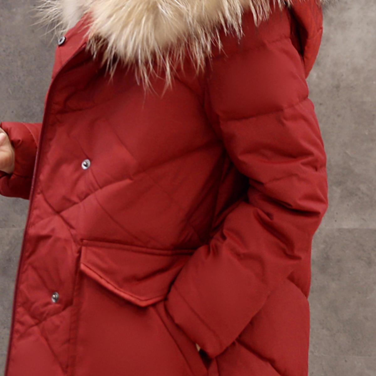 鸭鸭女装冬装新款中长款貂子毛领菱格压线羽绒服女大口袋潮B-2476产品展示图4