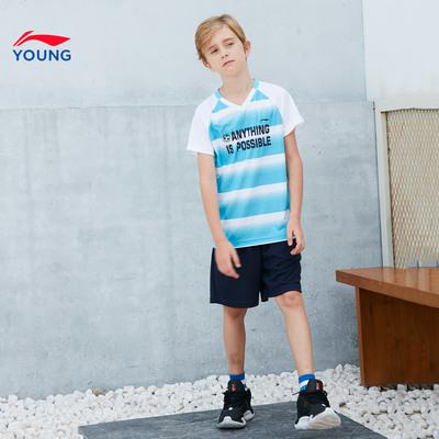 李宁童装套装2018新款男大童7-12岁V领短袖针织运动服YATN011