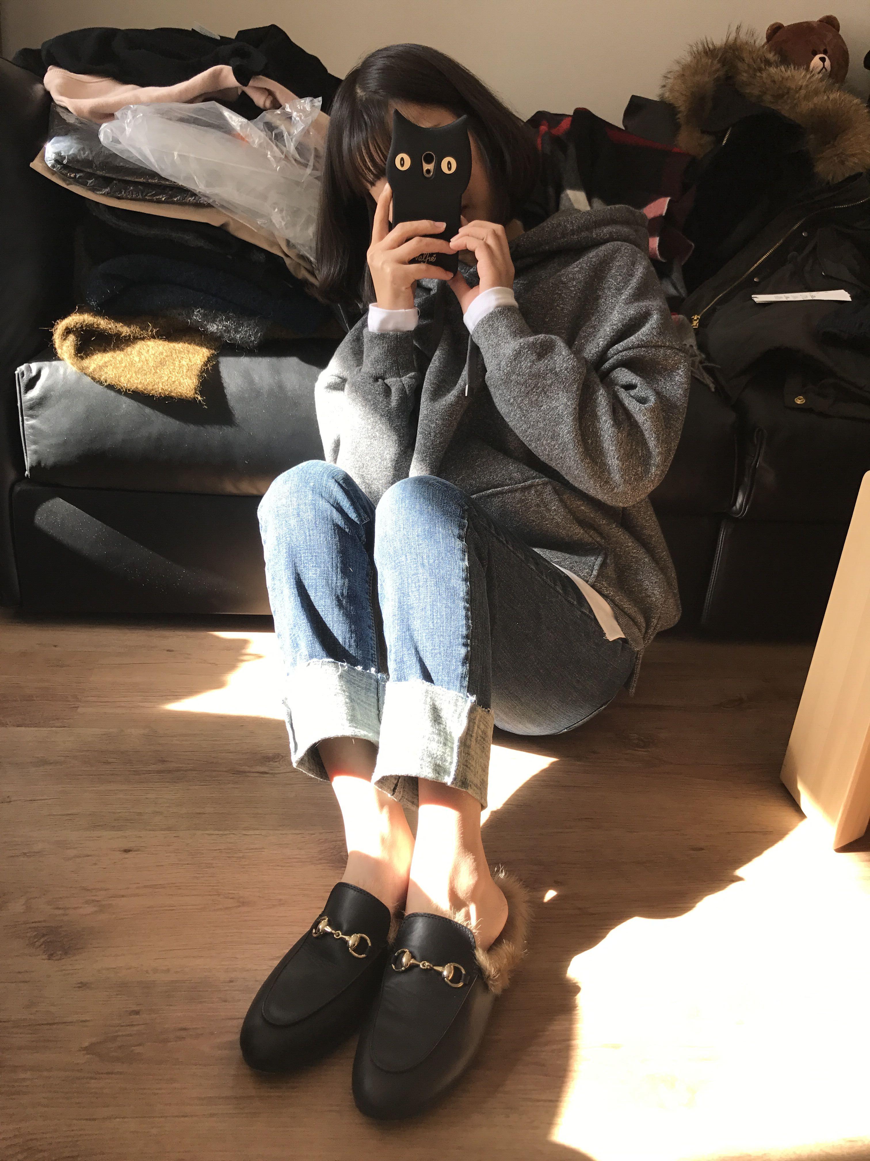 Толстовка женская Kitchclassic семьи Ринглинг сохранил любовь Корейский диких с капюшоном поддельные из двух частей ленивый свитер 2 цвета