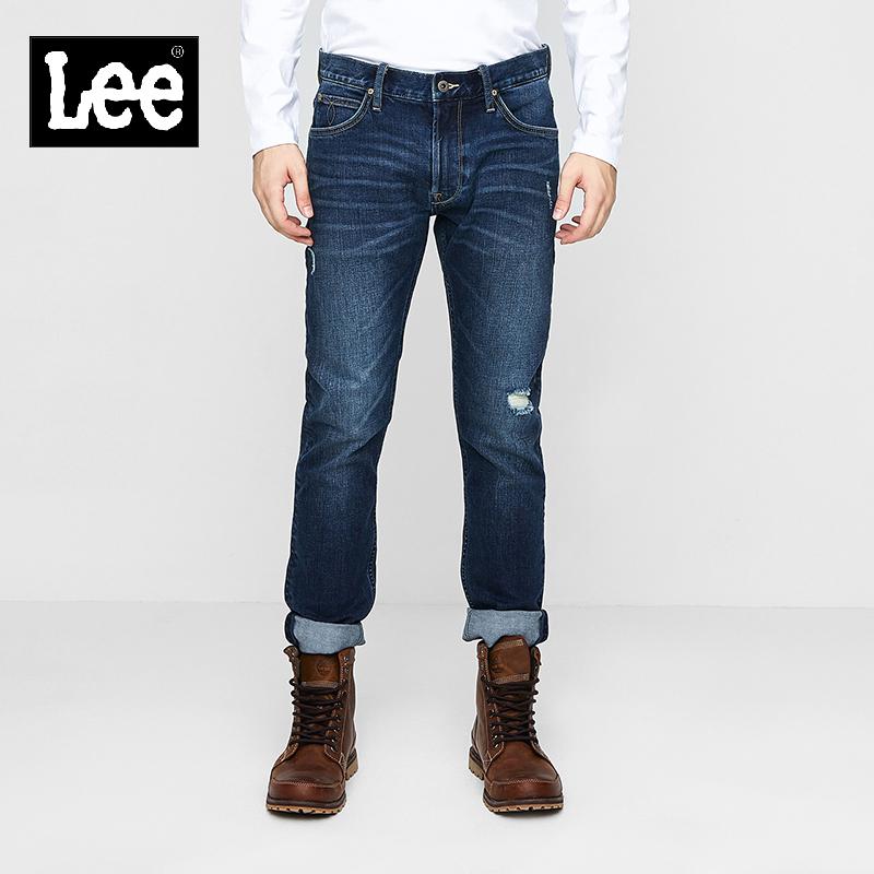 Lee男款 2018年秋季101+蓝色破洞拉丝九分牛仔裤L117092UZ8YP
