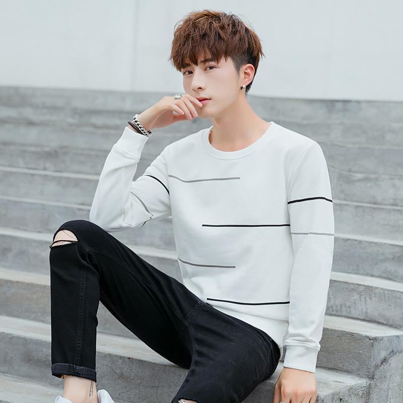 2019长袖t恤男春季韩版青少年圆领套头男装打底衫潮流上衣服卫衣