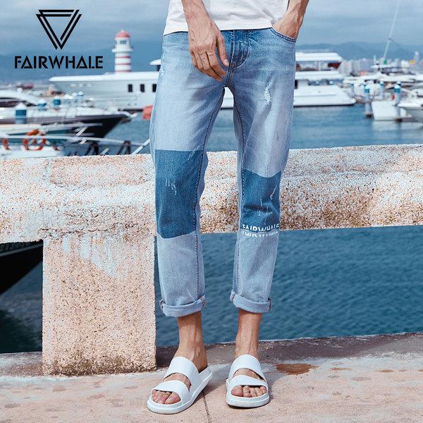 Mark Fairwhale/马克华菲 明星同款 马克华菲2018夏季新款牛仔裤男时尚潮磨白破洞撞色小脚