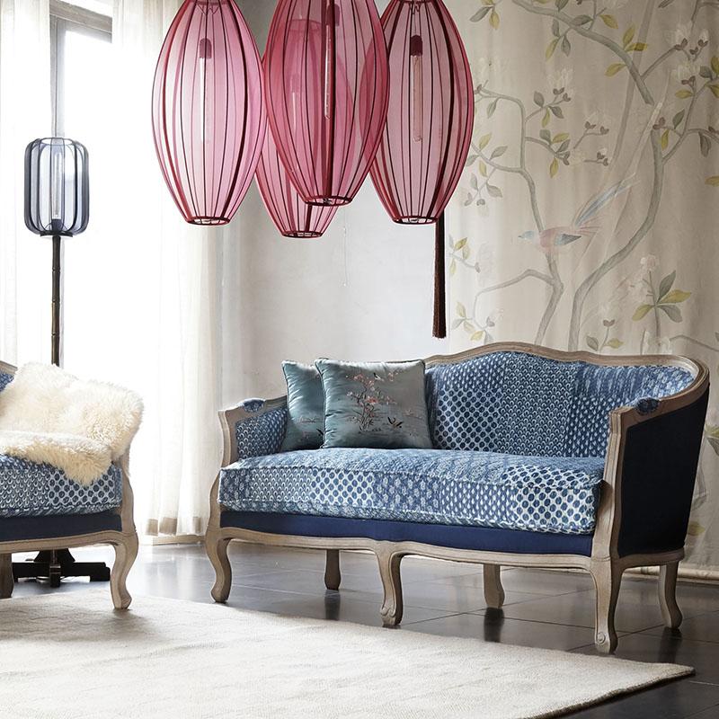 欧式沙发布艺沙发组合[摆设]尼泊尔刺子植物蓝布沙发欧式布艺沙发_0