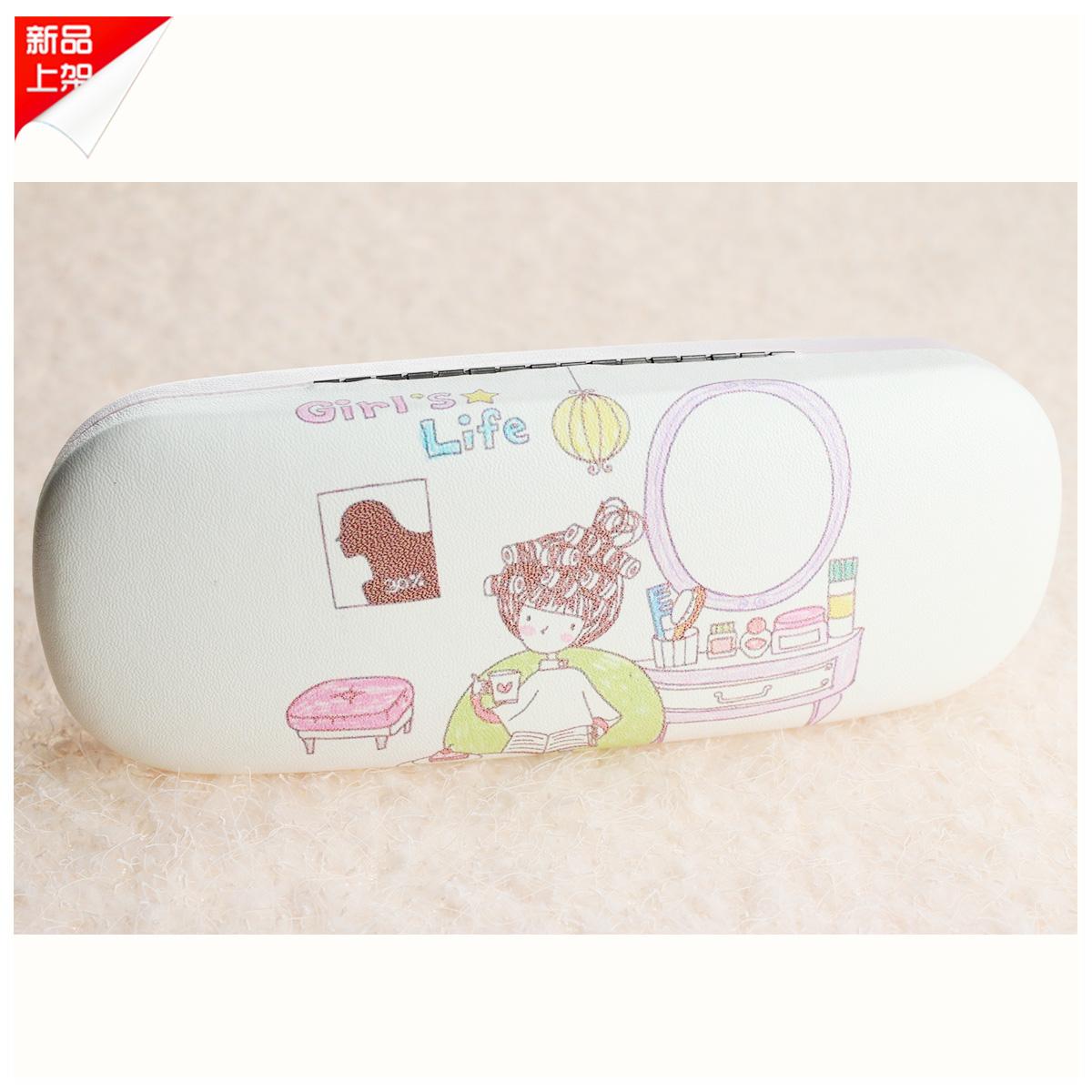可爱卡通镜盒 女孩梳妆 皮质镜盒 便携眼镜盒