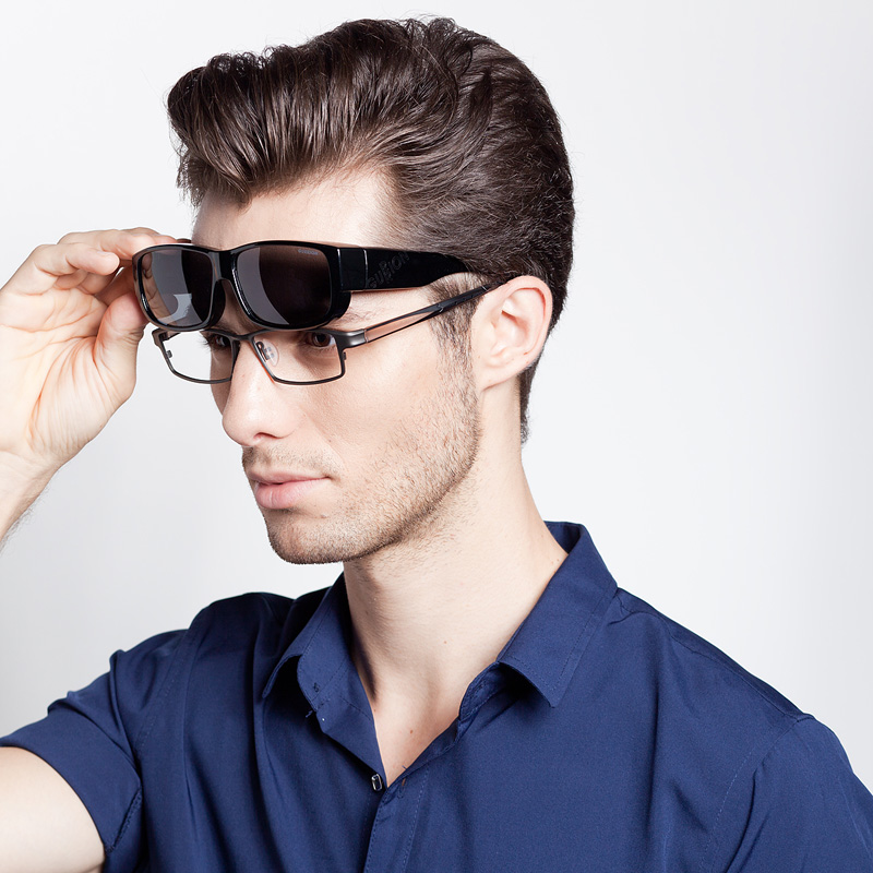 古龙套镜偏光近视太阳镜男司机驾驶镜近视墨镜男超轻夹片眼镜7610