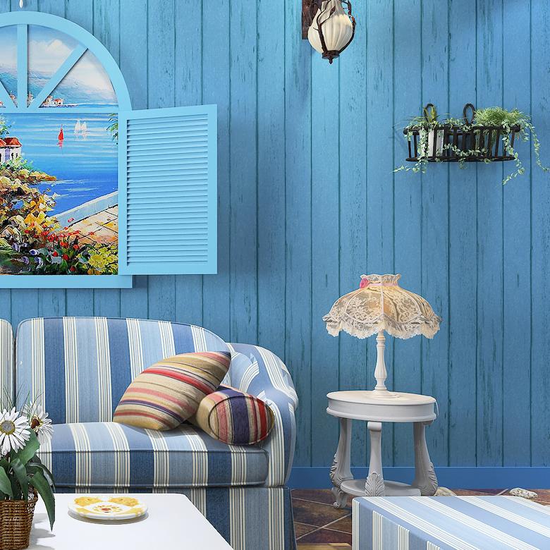 米冠蓝色地中海木纹壁纸8865