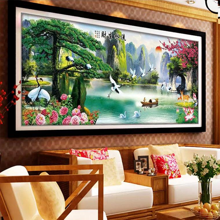 印花十字绣流水生财风景画 迎客松十字绣山水2米新款客厅大幅挂画图片