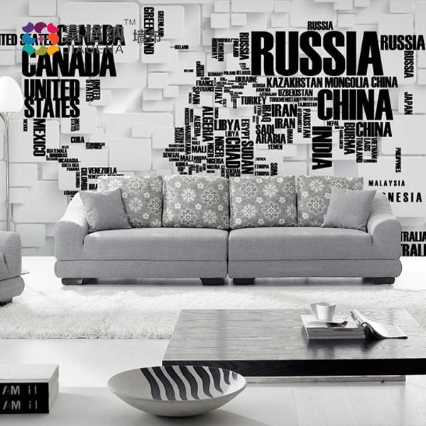 嘉格纳大型壁画英文字母3d地图