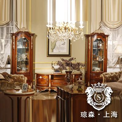 琼森新古典实木雕花玻璃柜sph81021
