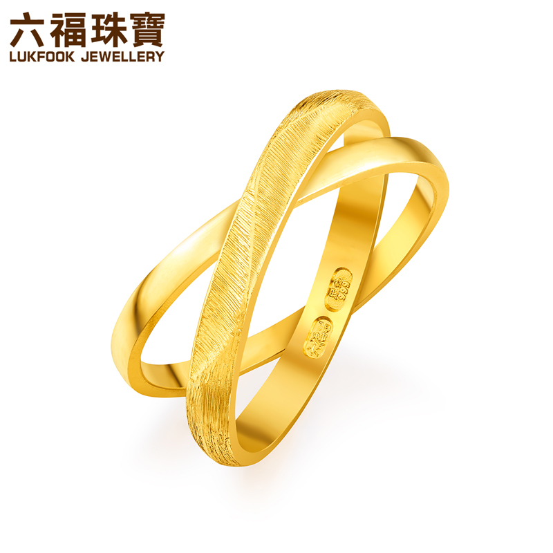 六福珠宝囍爱系列黄金对戒女款情牵一线结婚金戒指计价GLG4H0002