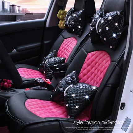 夏季透气汽车坐垫四季通用车垫女士全包玫红可爱个性汽车座垫