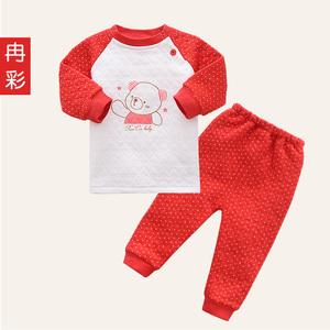 婴儿0-3月宝宝保暖内衣套装