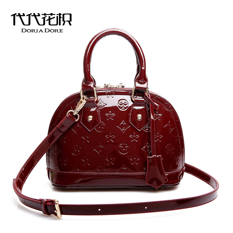 Generation of flowers trifoliate mini patent leather bag shell bag female 2018 New shoulder bag messenger bag trumpet bag handbag