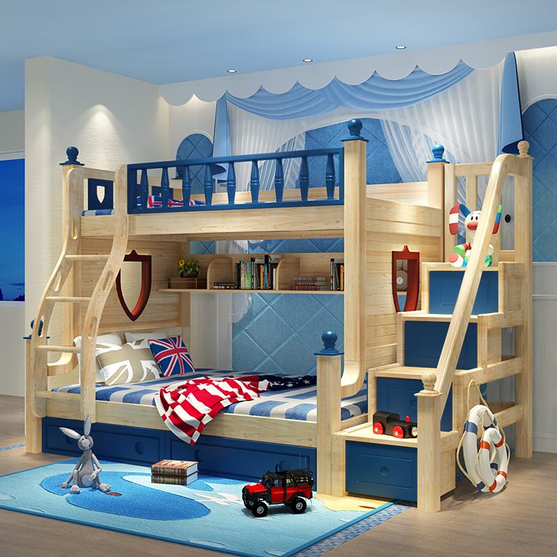 davidbenz实木儿童子母床双层床T09#蓝木色