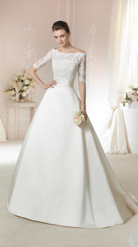 定制婚纱礼服欧美新款新娘婚纱蕾丝中袖一字肩华贵缎面婚纱拖尾