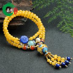 荔尚珠宝手串108颗黄琥珀佛珠手链 民族风女款蜜蜡珠子绕三圈手链