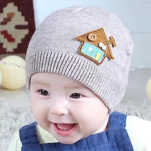 卡卡百分百  宝宝帽子0-3-6-12个月春秋1-2岁男女童针织毛线帽婴儿帽子秋冬季